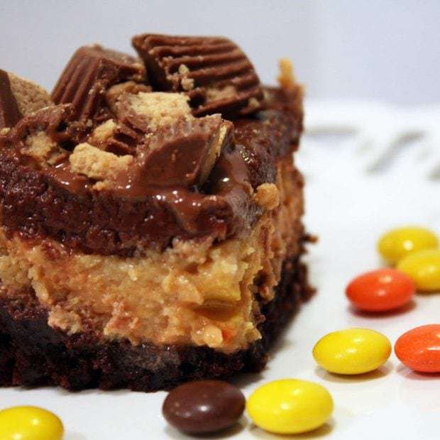 Sinfully Rich Reese's Cheesecake Brownies
