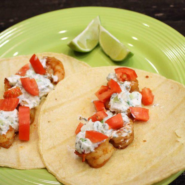 Shrimp Tacos with Lime-Cilantro Crema