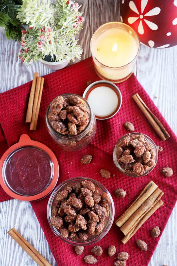Overhead image of crockpot cinnamon almonds