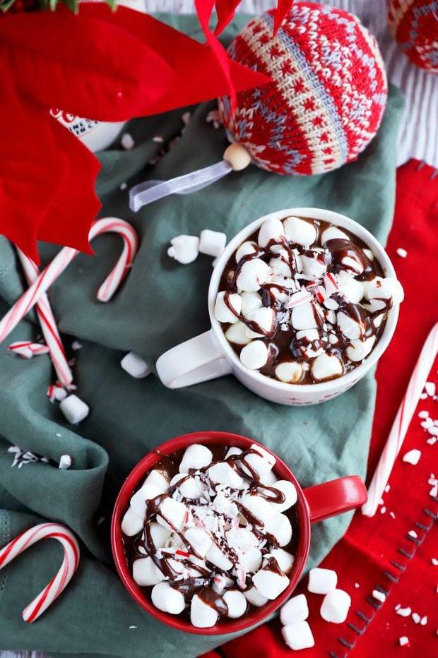 Overhead image of crockpot hot chocolate
