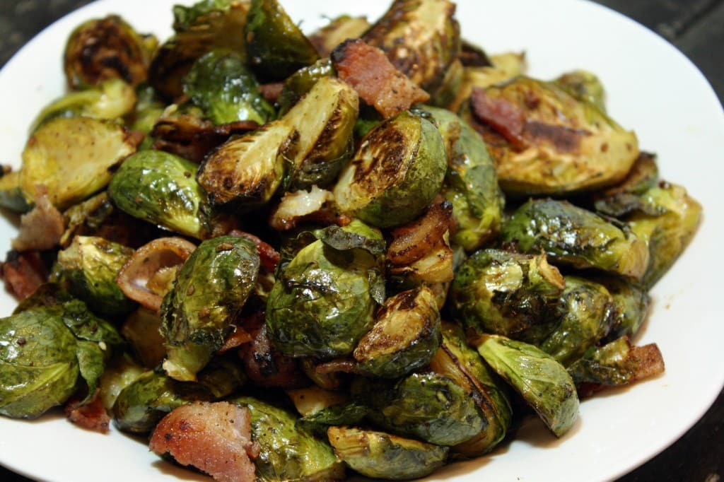 Roasted Balsamic Brussels Sprouts with Bacon - Cake 'n Knife