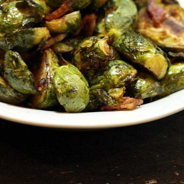Roasted Balsamic Brussels Sprouts with Bacon