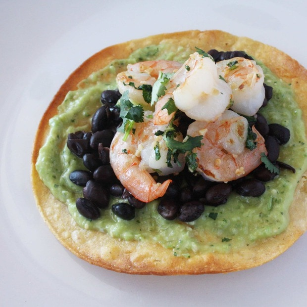 Cilantro Lime Shrimp Tostadas with Avocado and Tomatillo Salsa ...