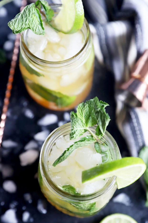 Cocktails with mint in mason jars image