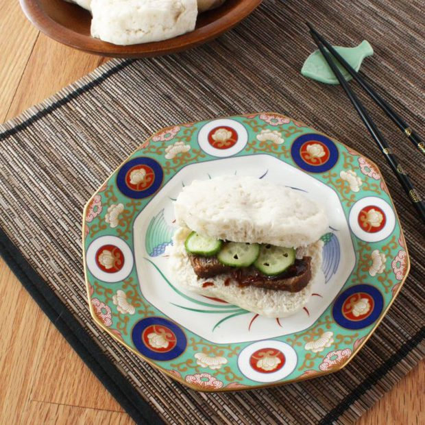 Steamed Buns with Braised Pork and Quick Pickled Cucumbers
