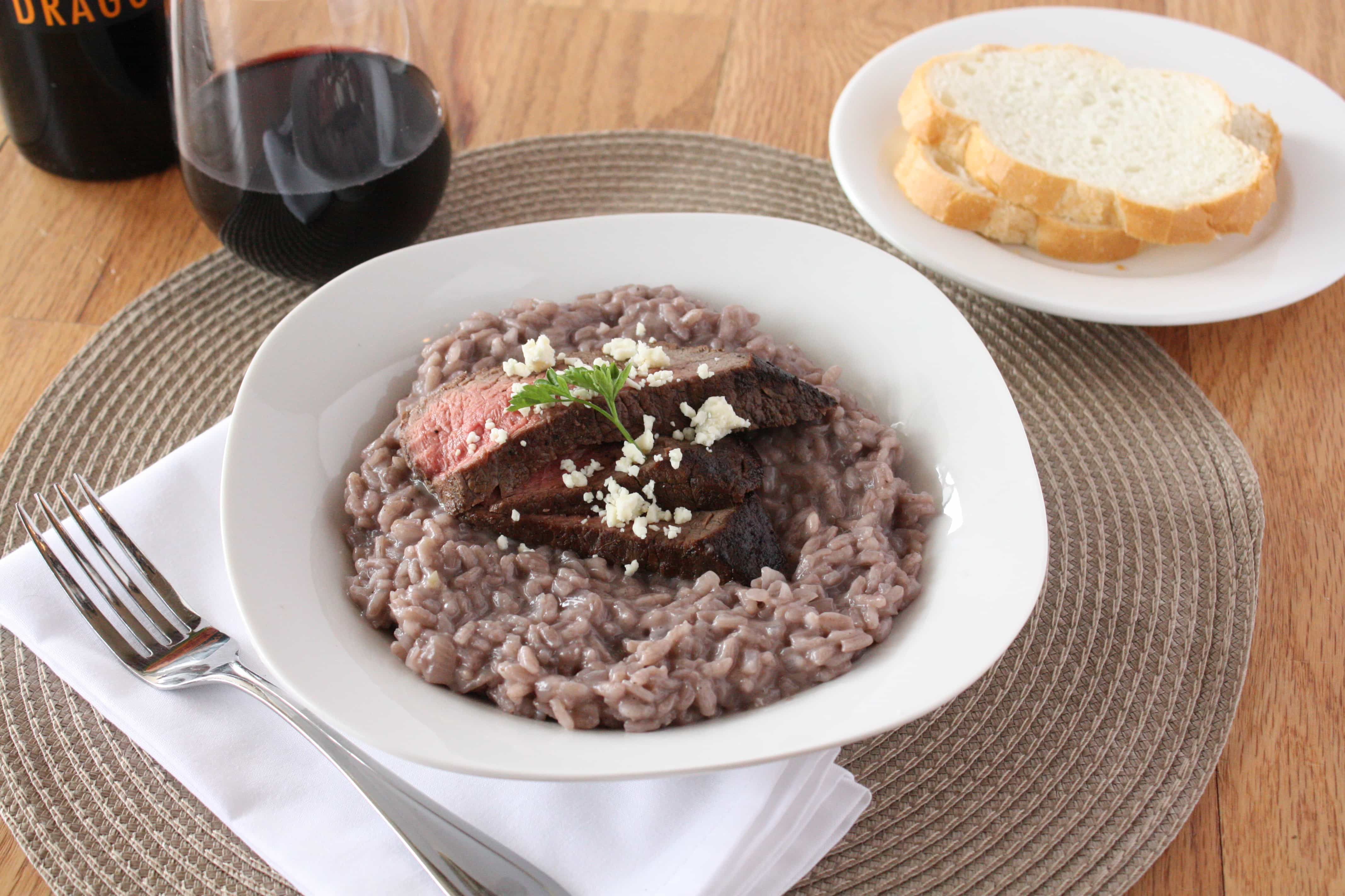 Red Wine Risotto with Steak and Blue Cheese – Cake 'n Knife