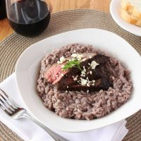 Red Wine Risotto with Steak and Blue Cheese