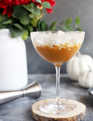 Side photo of pumpkin pie martini