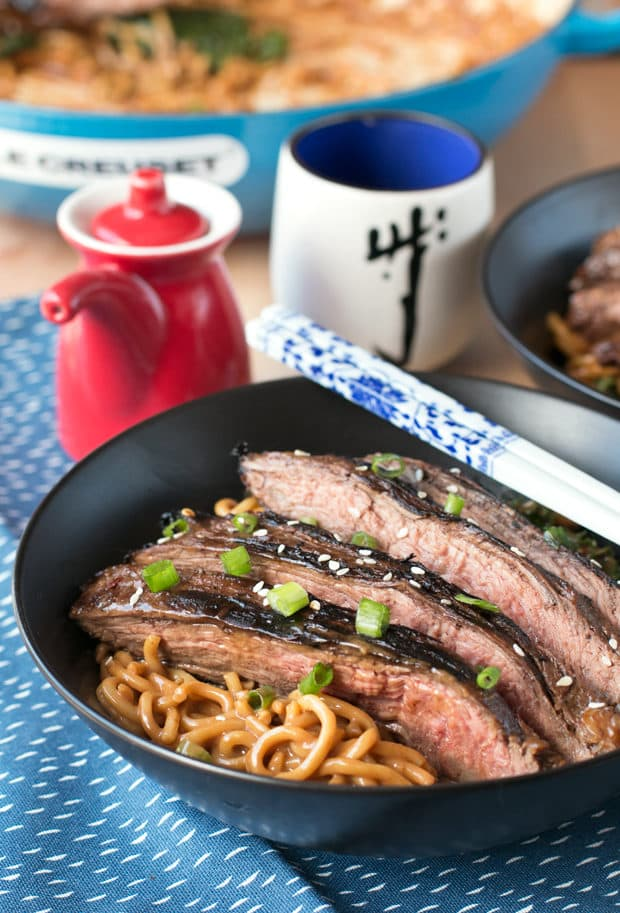Soy Marinated Flank Steak with Creamy Peanut Udon Noodles | cakenknife.com