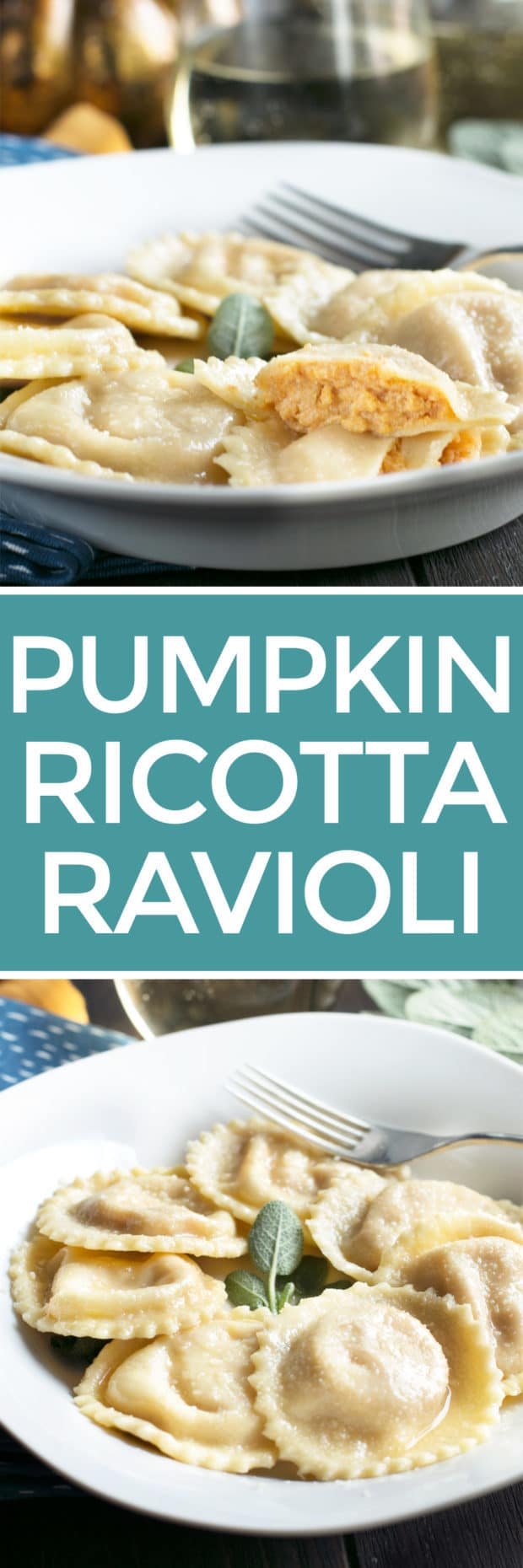 Pumpkin Ricotta Ravioli with Brown Butter Sage Sauce | cakenknife.com #pasta #ravioli #homemade #recipe