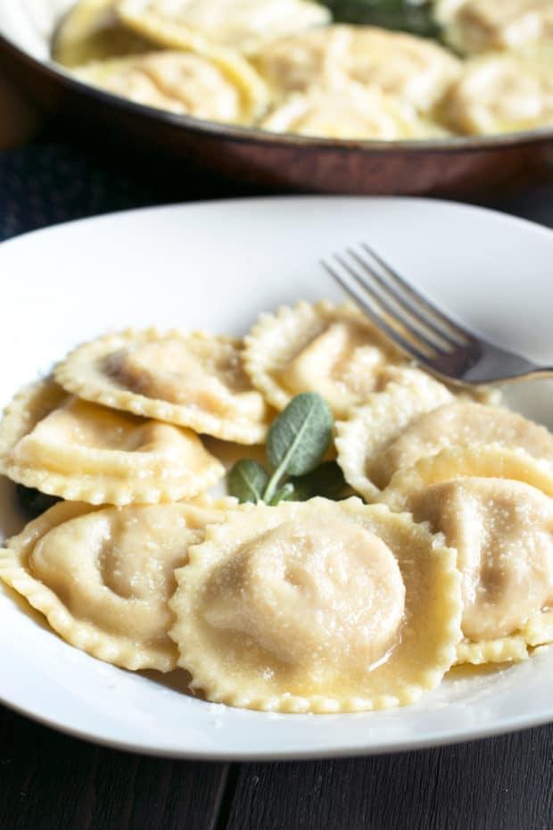 Pumpkin Ricotta Ravioli with Brown Butter Sage Sauce   cakenknife.com #pasta #ravioli #homemade #recipe