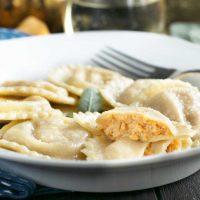 Pumpkin Ricotta Ravioli with Brown Butter Sage Sauce