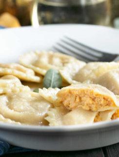 Pumpkin Ricotta Ravioli with Brown Butter Sage Sauce | cakenknife.com #pasta #ravioli #homemade #recipe