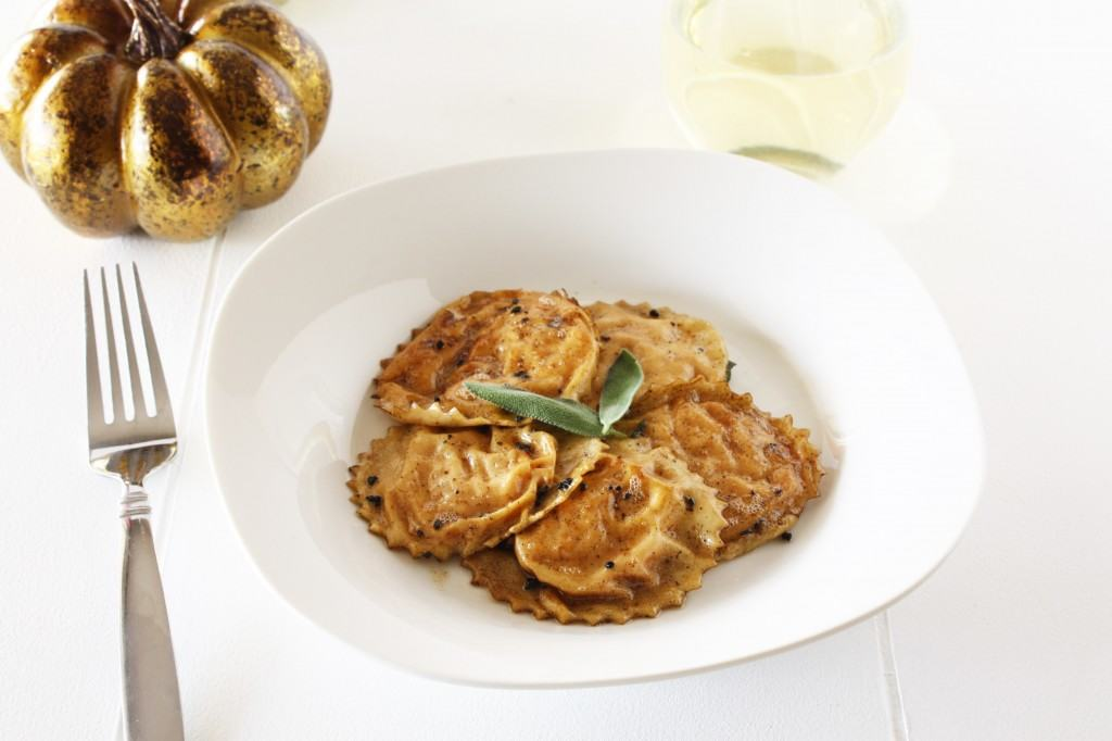 Pumpkin Ricotta Ravioli with Brown Butter Sage Sauce - Cake 'n Knife