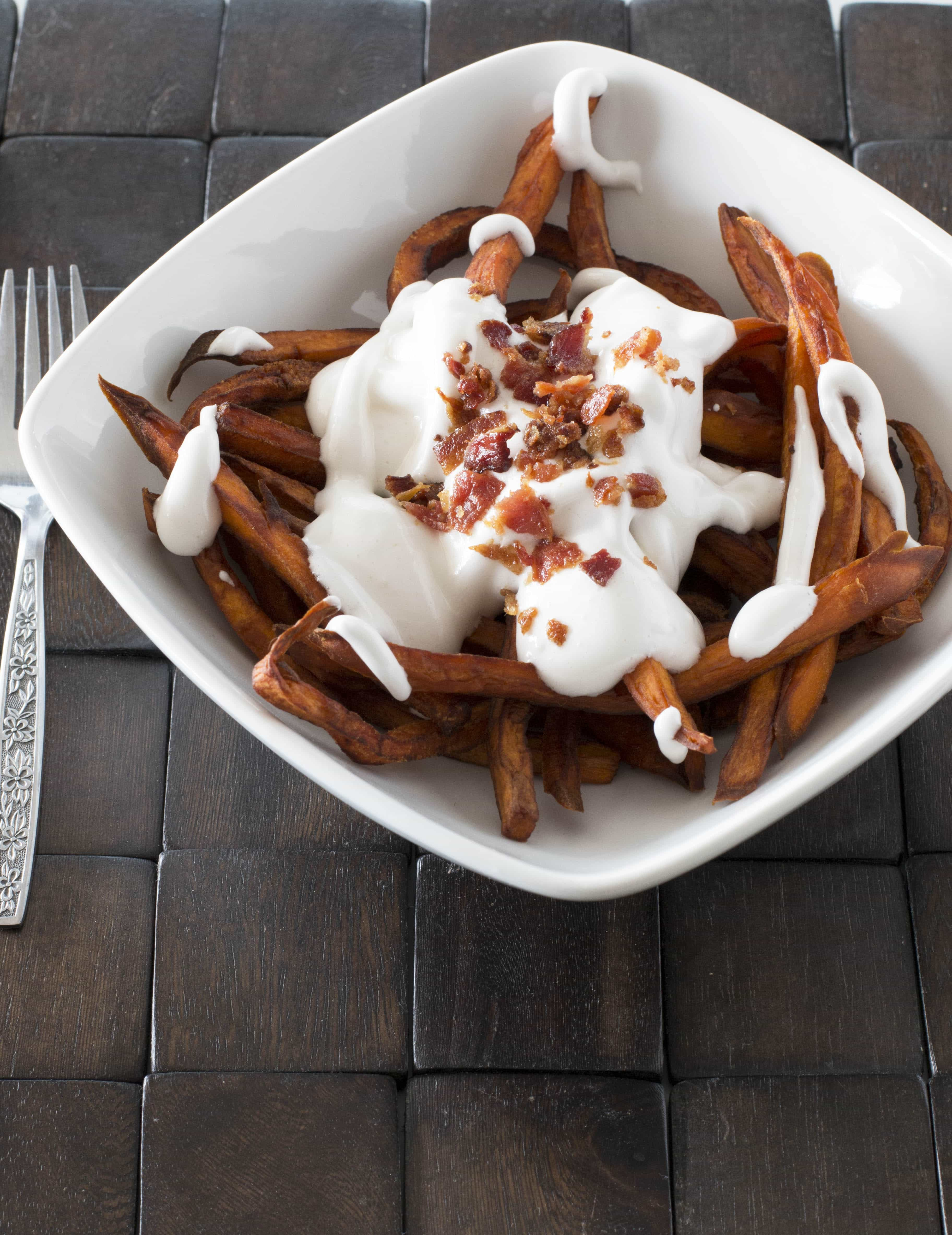 now you might be tempted to run away because the idea of dessert fries ...