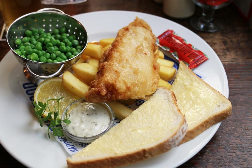 Fish & chips from The Ship & Shovell Pub