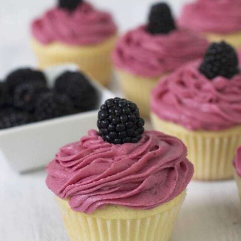 Vanilla Cupcakes with Lemon Curd Filling & Blackberry Buttercream Frosting