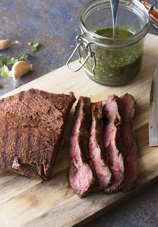 ... Sweet Dry Rub Flank Steak with Spicy Chimichurri – Cake 'n Knife
