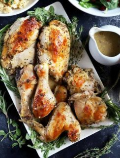Thumbnail image of roasted chicken with white wine and herbs