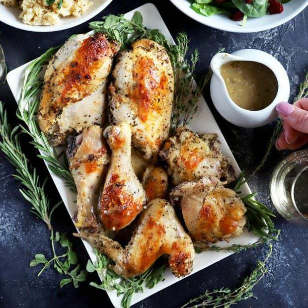 Roasted Chicken with White Wine & Fresh Herbs