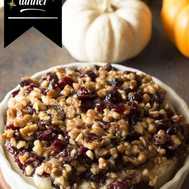 Baked Camembert with Cranberry Walnut Crust