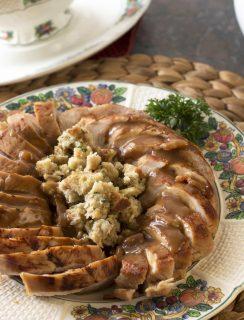 Beer Brined Turkey with Bacon Gravy   cakenknife.com #BlogsgivingDinner