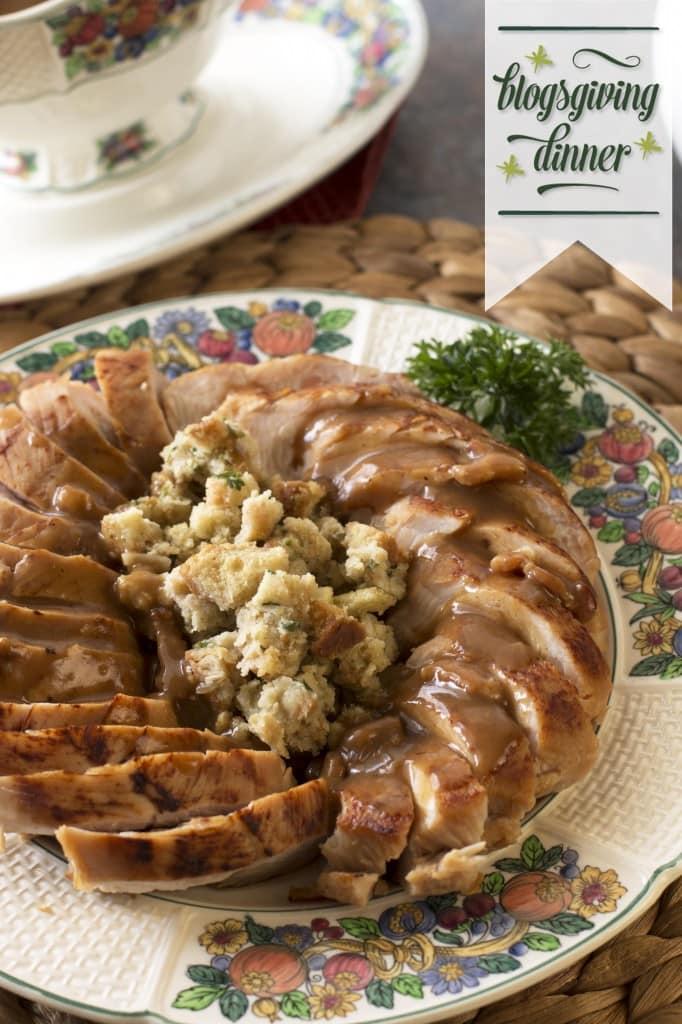 Beer Brined Turkey with Bacon Gravy | cakenknife.com #BlogsgivingDinner
