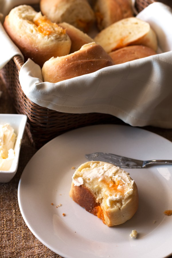 Cheddar Cheese Stuffed Parker House Rolls   cakenknife.com