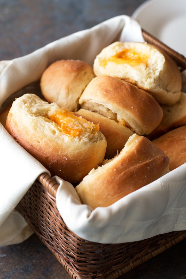 Cheddar Cheese Stuffed Parker House Rolls | cakenknife.com
