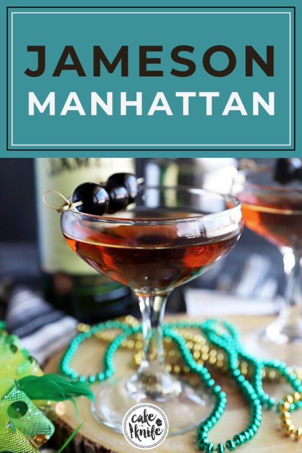 Pinterest image for Jameson Manhattan cocktail