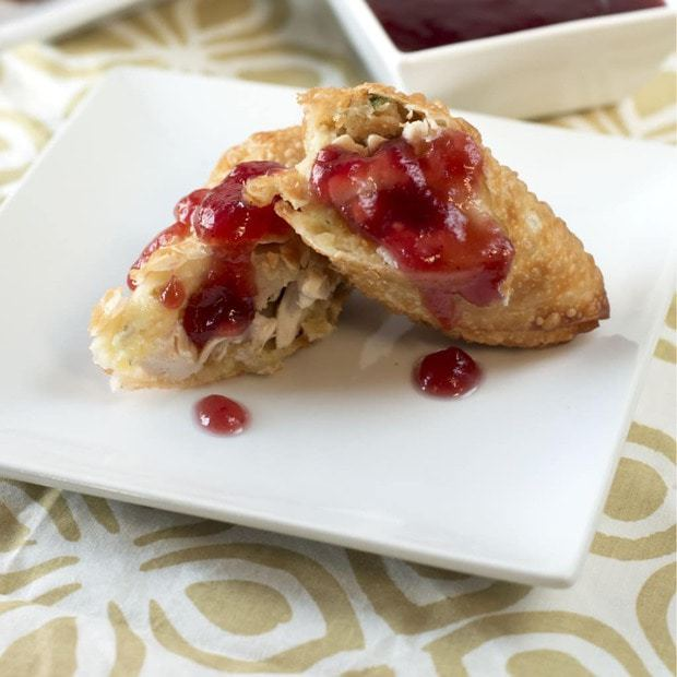 Thanksgiving Leftover Eggrolls with Cranberry Dipping Sauce | cakenknife.com #BlogsgivingDinner