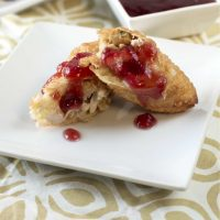 Thanksgiving Leftover Stuffed Egg Rolls & Cranberry Dipping Sauce