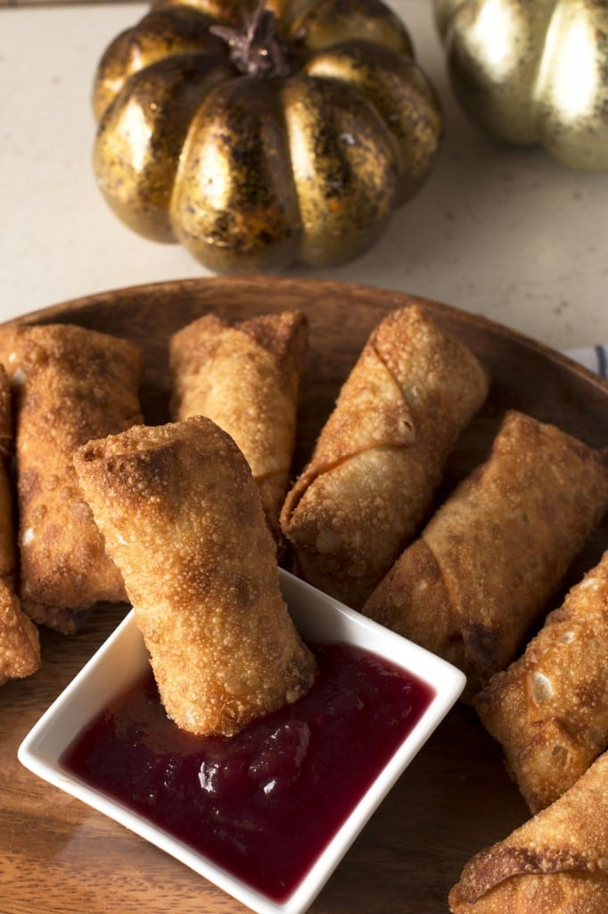 Thanksgiving Leftovers Eggrolls with Cranberry Dipping Sauce | cakenknife.com #BlogsgivingDinner