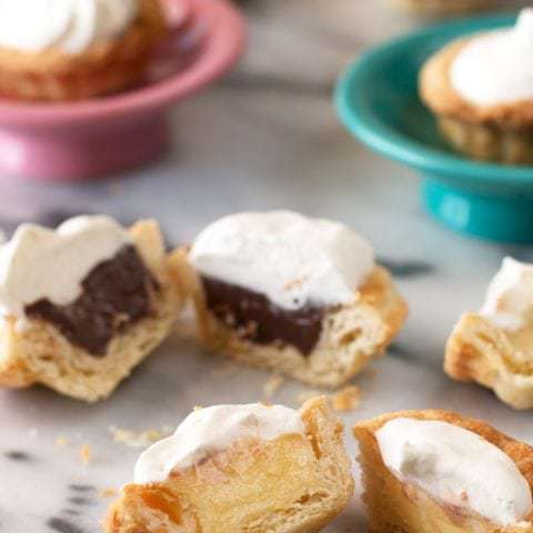 Mini Cream Pies with Three Flavors
