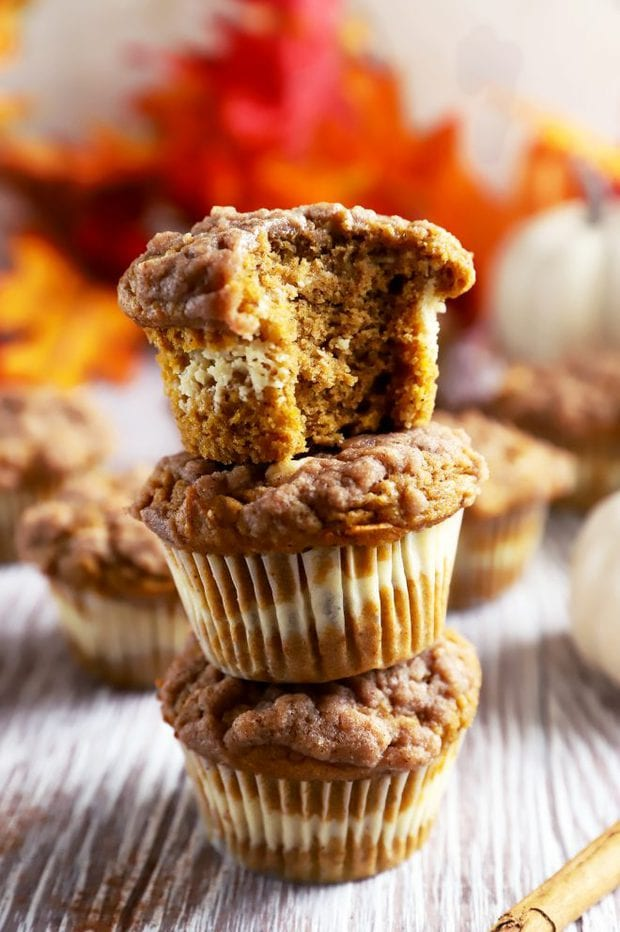 Fall muffin stack with bite taken out image