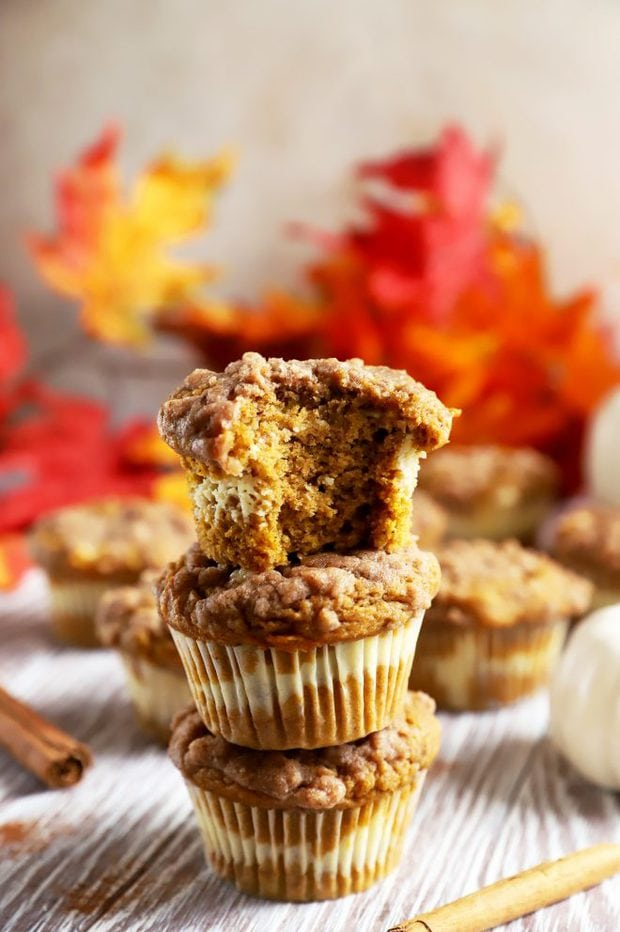 Image of pumpkin muffin with bite taken out