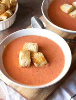 Creamy Charred Tomato Soup with Garlic Croutons   cakenknife.com