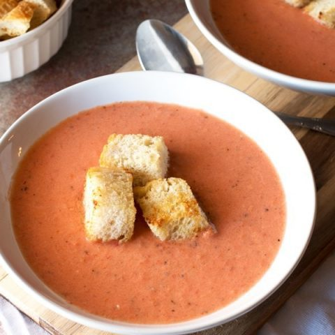 Creamy Charred Tomato Soup with Garlic Croutons | cakenknife.com