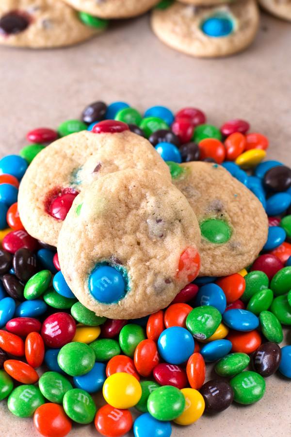 Soft Batch Mini M&M Cookies   cakenknife.com