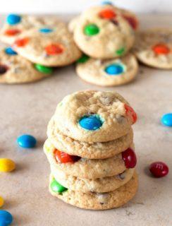 Soft Batch Mini M&M Cookies | cakenknife.com