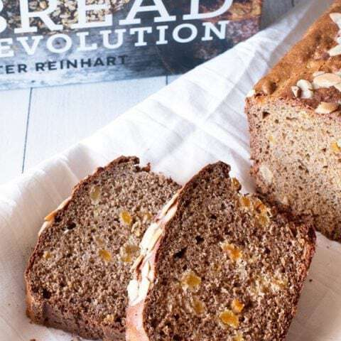 Apricot Almond Sprouted Wheat/Spelt Quick Bread