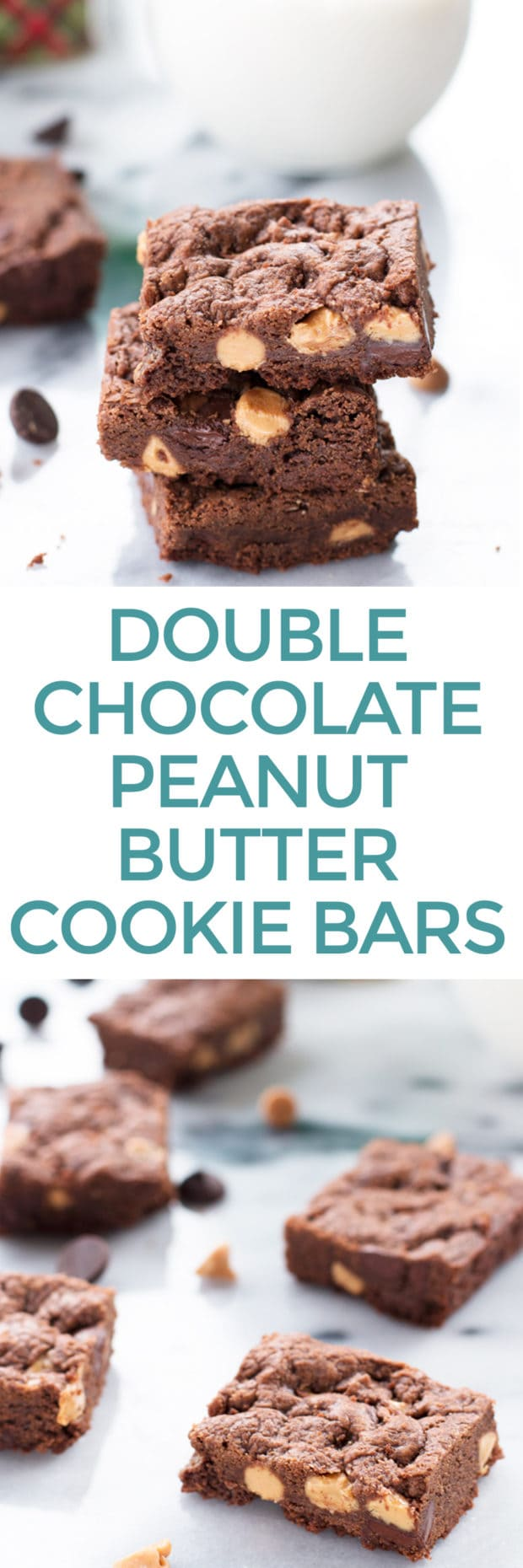 Chewy Double Chocolate Peanut Butter Cookie Bars | cakenknife.com