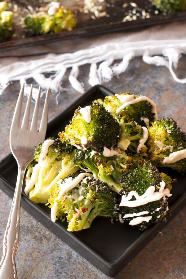 Crispy Roasted Broccoli with Garlic Cream Sauce   cakenknife.com