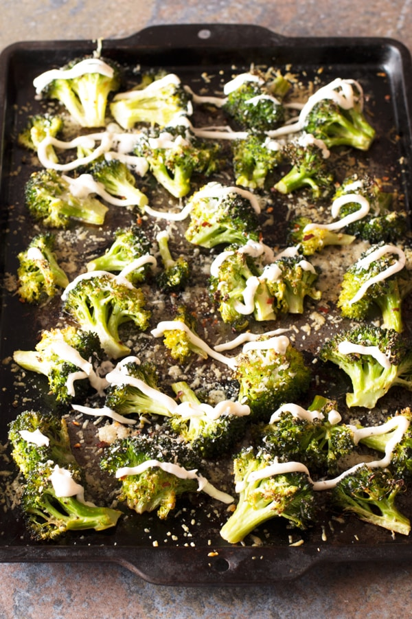Crispy Roasted Broccoli with Garlic Cream Sauce - Last Minute Thanksgiving Recipes | cakenknife.com