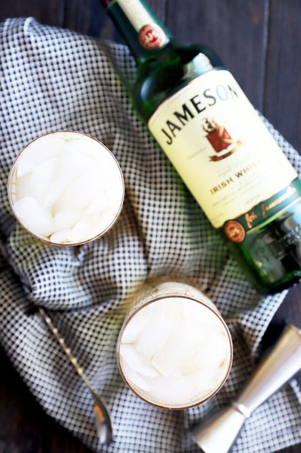 Overhead photo of Jameson cocktails in glasses