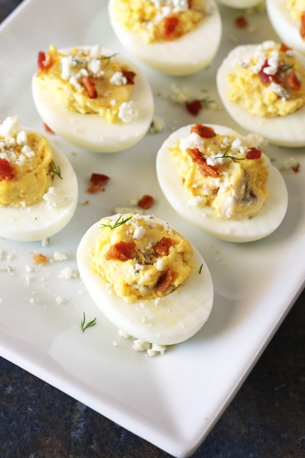 Bacon and Blue Deviled Eggs | cakenknife.com