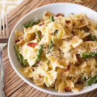 Creamy Brown Butter Farfalle with Asparagus and Crispy Prosciutto