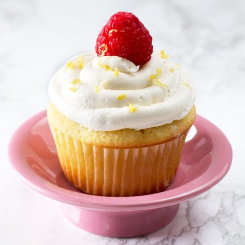 Lemon Raspberry-Filled Cupcakes with White Chocolate Buttercream Frosting
