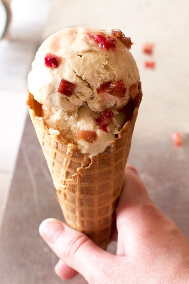 Roasted Rhubarb Ice Cream | cakenknife.com