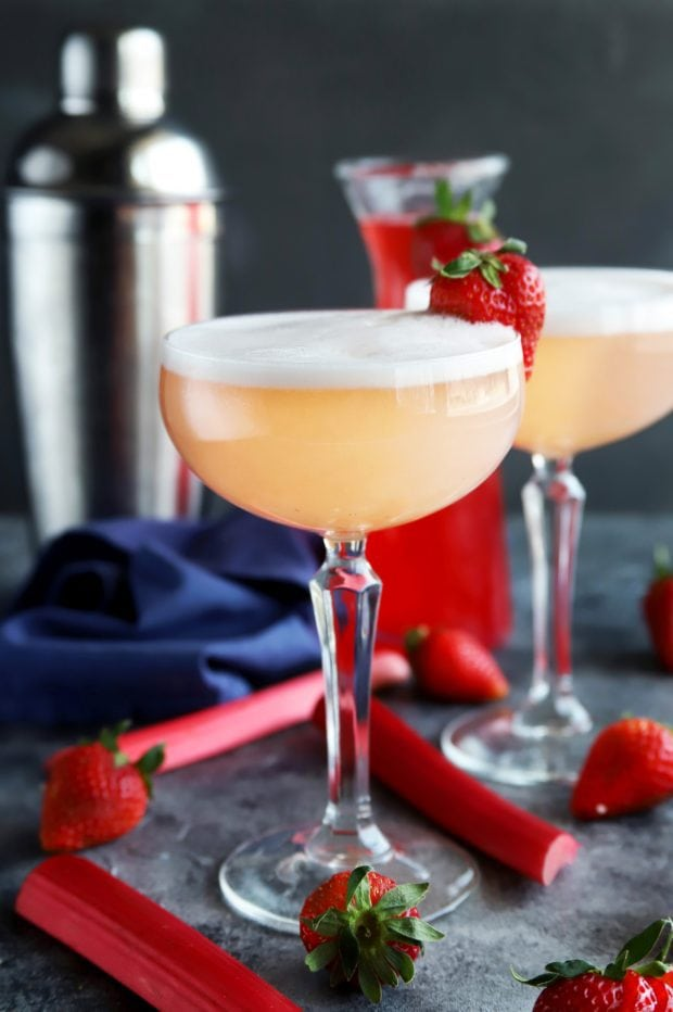 fresh strawberries and rhubarb with gin fizz cocktail